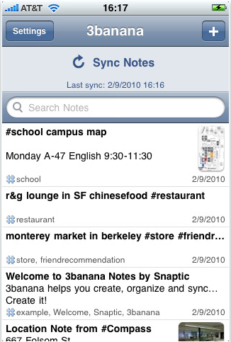 Snaptic capturing notes and metadata in contexts